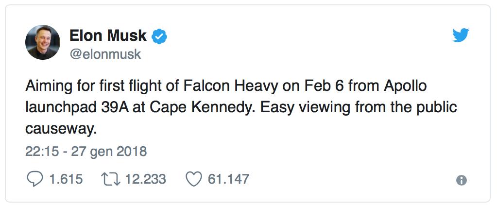Elon Musk ha da poco annunciato la data prevista per il primo volo di test del Falcon Heavy, giorno che definirà l'inizio di una nuova era spaziale.