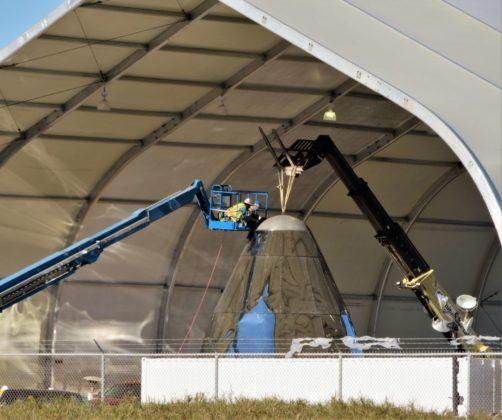 Starship in via di costruzione presso la struttura di collaudo in Texas