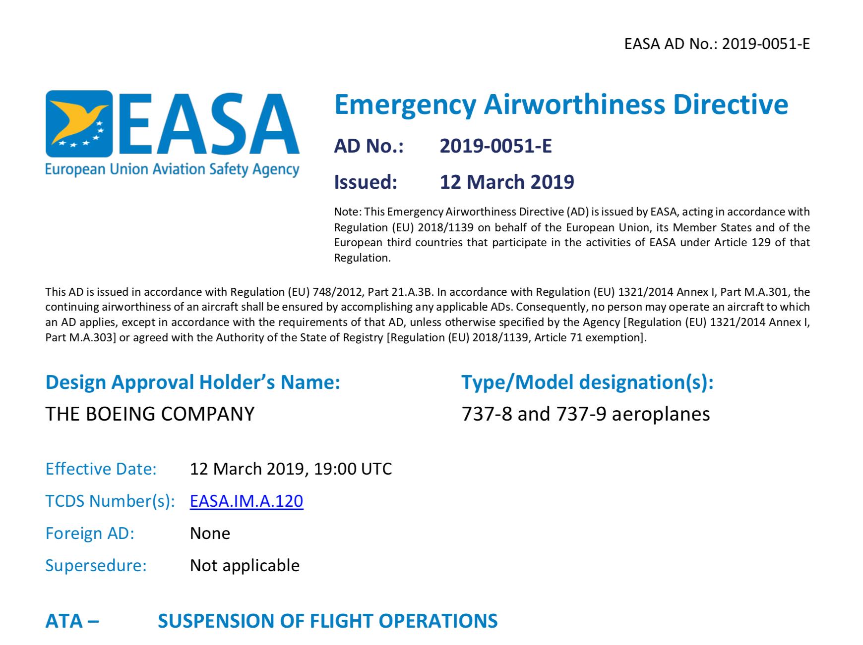 Boeing & EASA