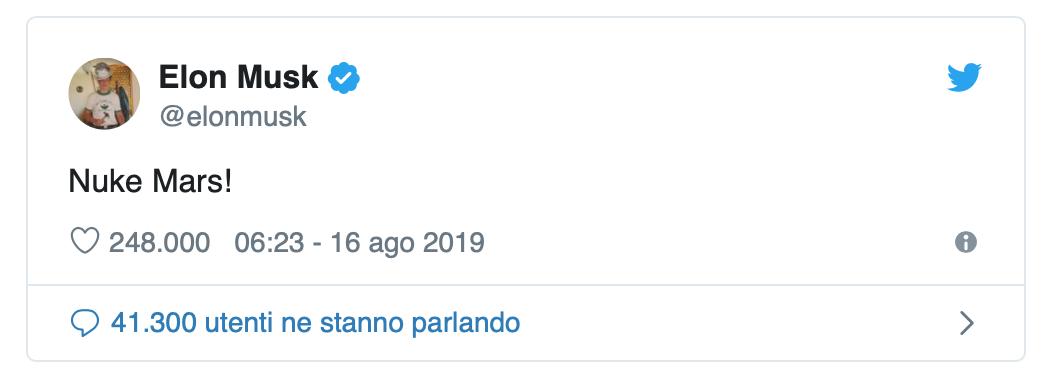 Elon Musk e Marte su twitter