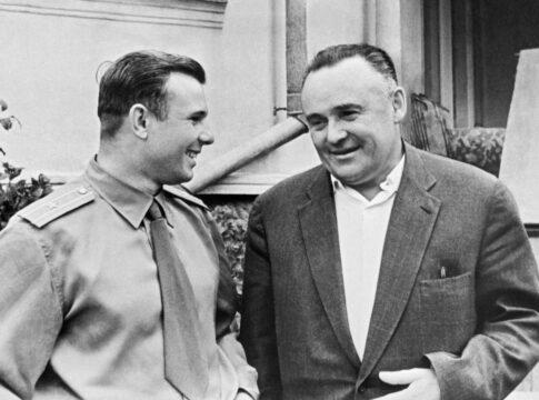 Korolev il capo progettista dell'Unione Sovietica con Gagarin