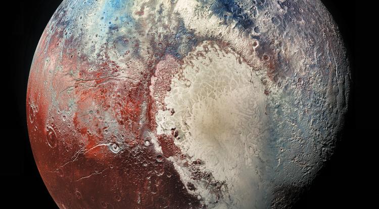 Immagine di Plutone con la regione Sputnik Planitia visibile sulla destra.