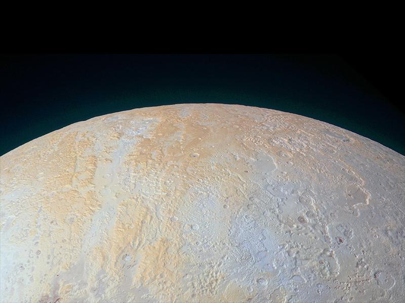 Area polare settentrionale di Plutone catturata da New Horizons.