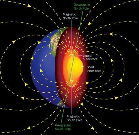 Illustrazione del campo magnetico terrestre e della struttura interna del pianeta. Crediti: Google Images.