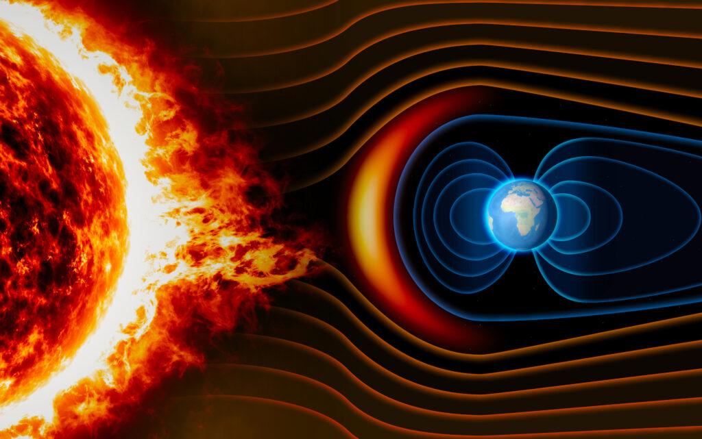 Illustrazione del campo magnetico terrestre che agisce da scudo contro l'azione del vento solare. Crediti: Earth.com