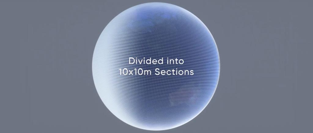 Superficie globale di Earth 2 suddivisa mediante la griglia di tessere. Crediti: earth.io