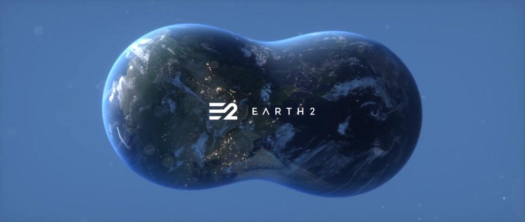 Logo del progetto Earth 2, con il pianeta Terra che viene duplicato in una realtà parallela. Crediti: earth.io