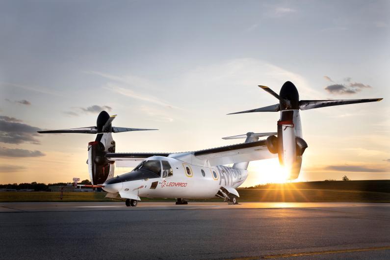 Convertiplano AW 609 configurazione tilt rotor. Crediti: Leonardo Company.