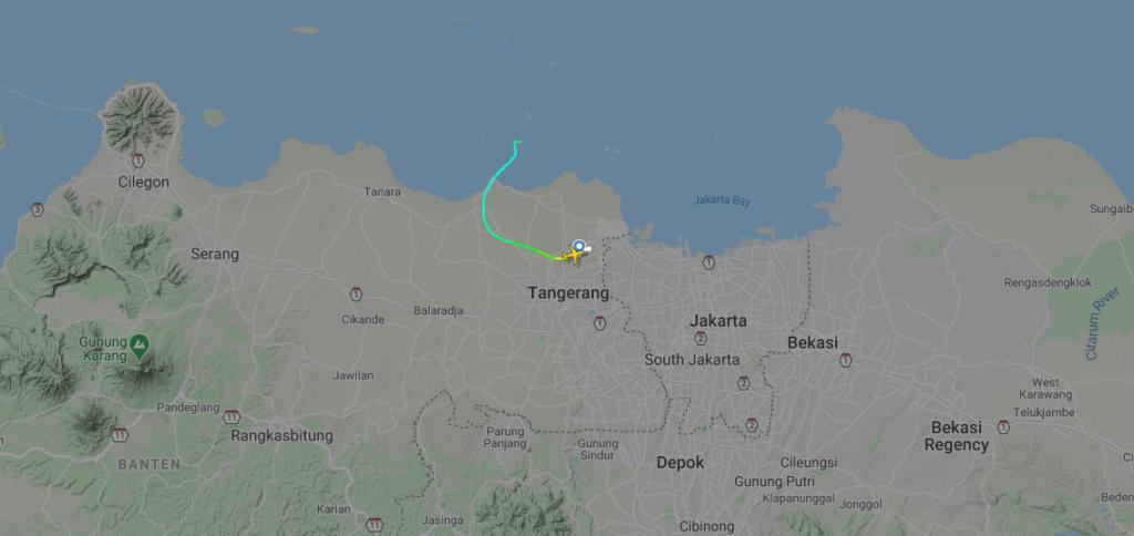 Perdita contatti con il volo SJ 182. Crediti: Flight Radar 24.