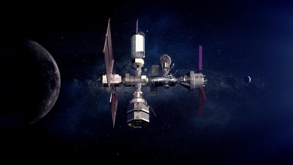 Illustrazione di modulo abitativo (HALO) e modulo di potenza (PPE), primi componenti del Lunar Gateway, che verranno inseriti in orbita lunare da SpaceX. Crediti: NASA.