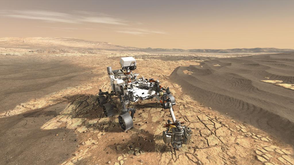 Illustrazione di Perseverance su Marte. Crediti: NASA JPL