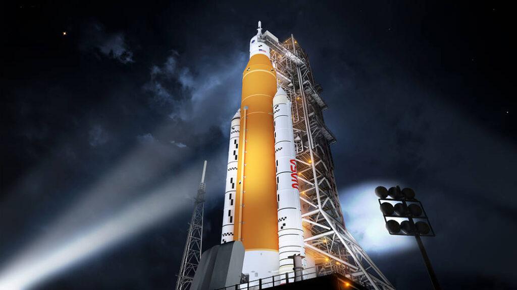 Concept artistico dello Space Launch System. SLS entra in operazione dopo il primo lancio del Falcon Heavy di SpaceX, esso proseguirà quindi le operazioni necessarie alla costruzione del Lunar Gateway. Crediti: NASA/MSFC.