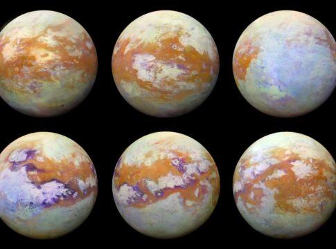 Illustrazioni del più grande satellite naturale di Saturno, Titano. Crediti: NASA