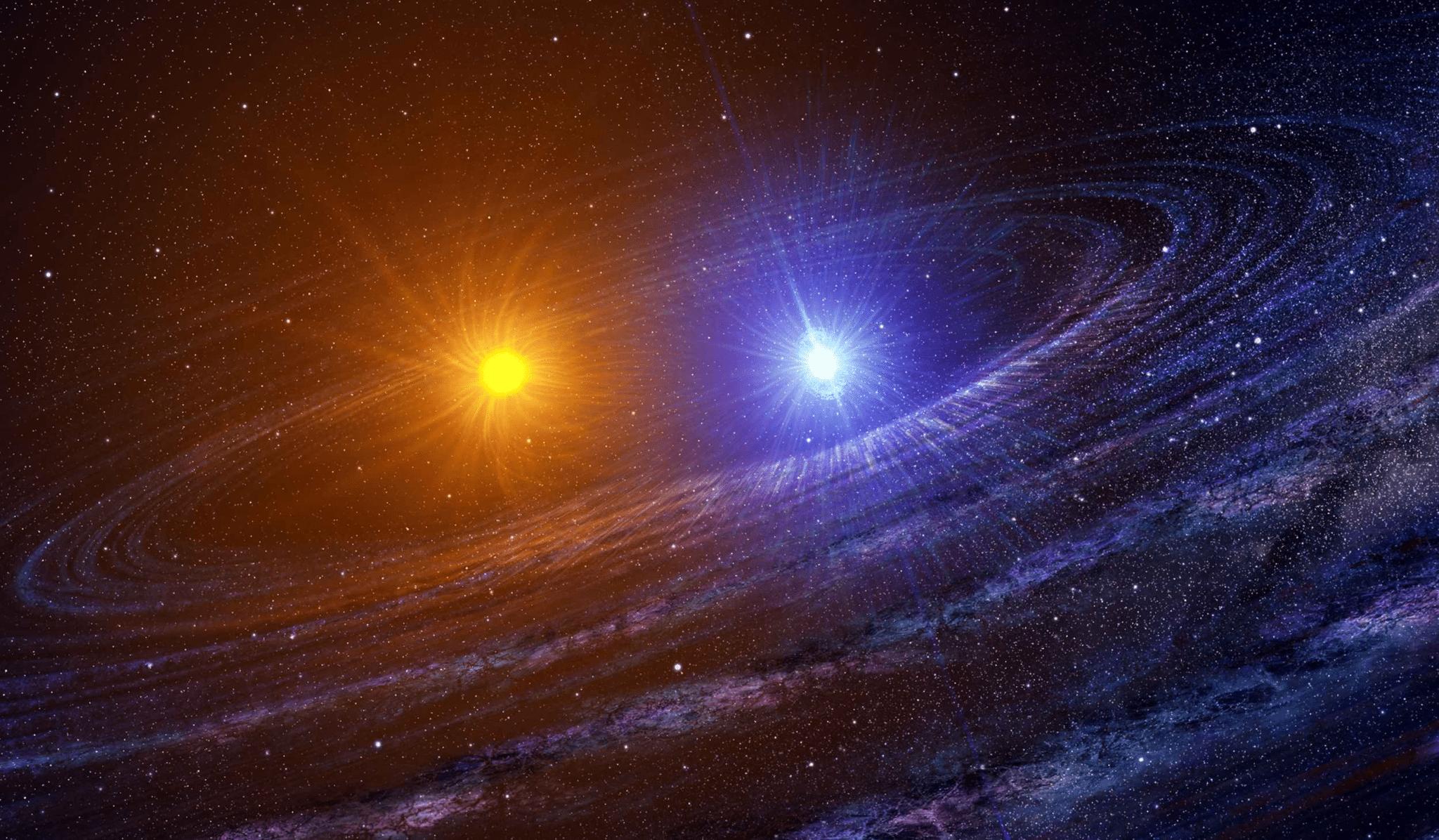Illustrazione raffigurante un sistema di stelle binario.