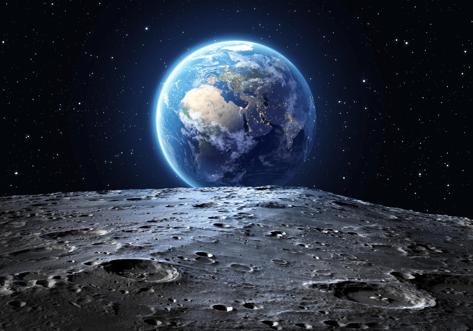 Illustrazione del pianeta Terra visto dal suo satellite naturale.