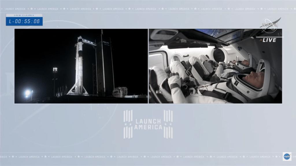 55 minuti al lancio della Crew 2. Crediti: NASA YT channel.
