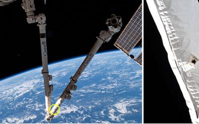 Braccio robotico della ISS colpito da un detrito spaziale