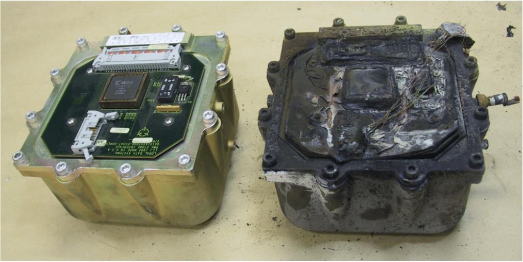 Confronto tra due scatole nere prima e dopo l'incidente Credits: ATSB
