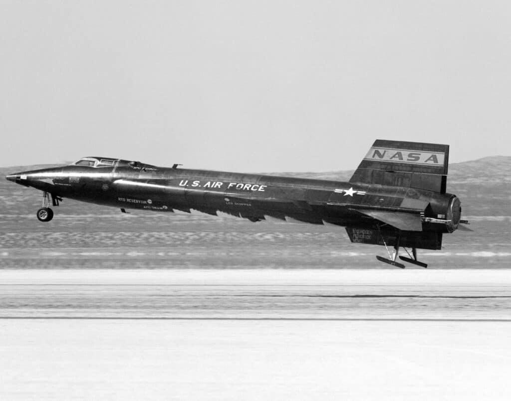 X-15 in fase di atterraggio. Crediti: NASA.