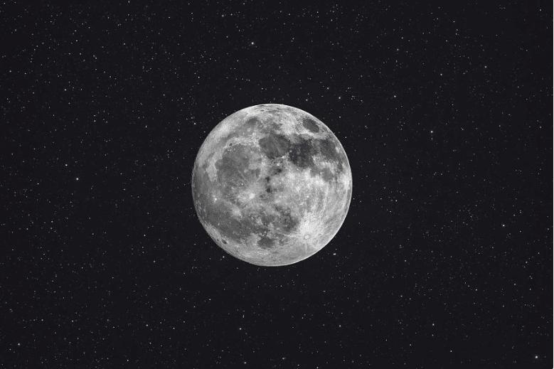Rappresentazione del satellite naturale della Terra, Luna. Image: Christophe Lehenaff
